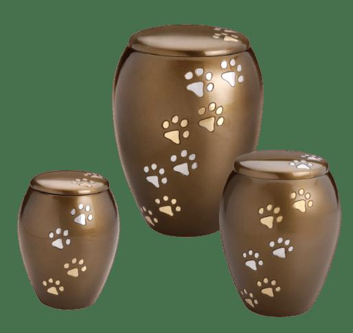 Majestic pet urn in brass